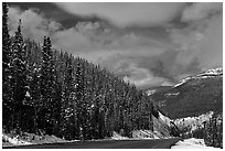 Highway near the Continental Divide at Monarch Pass. Colorado, USA (black and white)