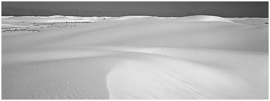 White sand dunes landscape. White Sands National Park (Panoramic black and white)