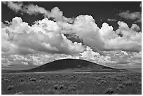 Volcanic hill and clouds. New Mexico, USA (black and white)
