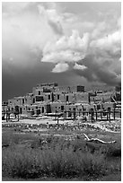 Largest multistoried Pueblo structure. Taos, New Mexico, USA (black and white)