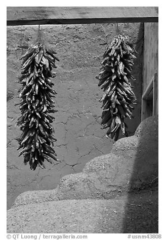 Strings of red pepper hanging from adobe walls. Taos, New Mexico, USA (black and white)