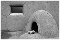 Domed oven and window. Taos, New Mexico, USA (black and white)