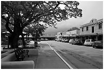 Plazza and shops. Taos, New Mexico, USA (black and white)