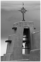 Church Bell tower in adobe style. Taos, New Mexico, USA (black and white)