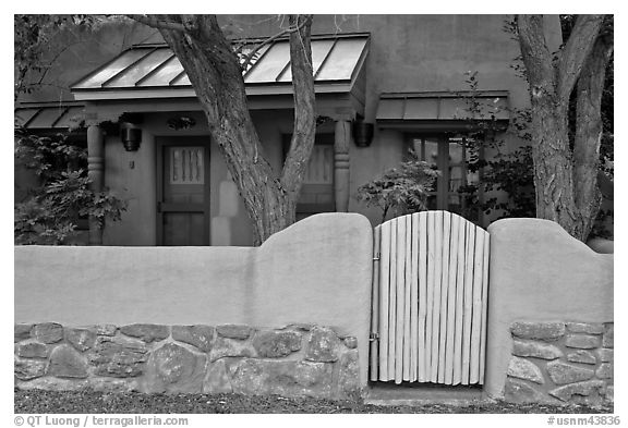 Residential front yard. Taos, New Mexico, USA (black and white)