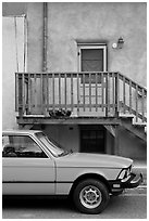 Car and adobe house detail. Taos, New Mexico, USA (black and white)