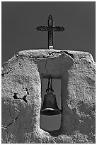Bell, Cross and adobe wall,  San Lorenzo Church,. New Mexico, USA (black and white)