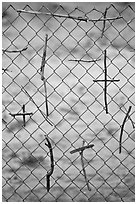 Crosses made of twigs on chain-link fence, Sanctuario de Chimayo. New Mexico, USA (black and white)