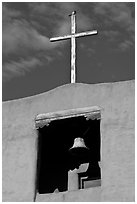 Bell tower, Chapel de San Miguel. Santa Fe, New Mexico, USA (black and white)