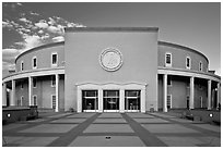 The Roundhouse (New Mexico Capitol). Santa Fe, New Mexico, USA (black and white)
