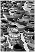 Pottery for sale. Santa Fe, New Mexico, USA (black and white)
