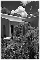 Garden and adobe house. Santa Fe, New Mexico, USA (black and white)