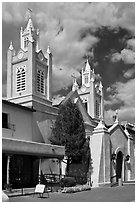 Historic San Felipe de Neri Church on plaza. Albuquerque, New Mexico, USA ( black and white)