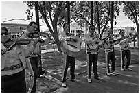Mariachi band on old town plazza. Albuquerque, New Mexico, USA ( black and white)