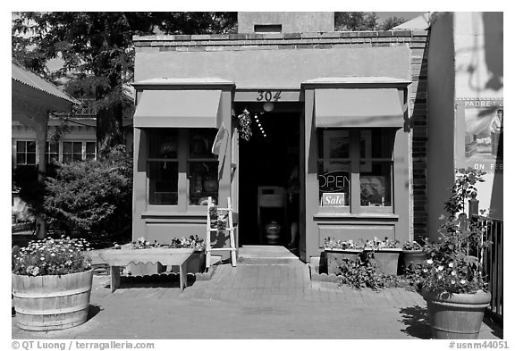 Blue store, old town. Albuquerque, New Mexico, USA (black and white)