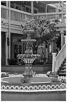 Fountain and white guardrails, old town. Albuquerque, New Mexico, USA ( black and white)