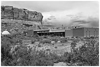 Visitor center. Chaco Culture National Historic Park, New Mexico, USA (black and white)