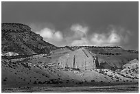 Red cliffs and dark sky. New Mexico, USA ( black and white)