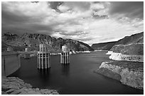 Reservoir and intake towers. Hoover Dam, Nevada and Arizona (black and white)