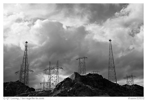 High-voltate transmission lines and clouds. Hoover Dam, Nevada and Arizona