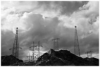 High-voltate transmission lines and clouds. Hoover Dam, Nevada and Arizona (black and white)