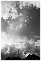 Power lines and clouds. Hoover Dam, Nevada and Arizona (black and white)