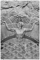 Memorial in Art Deco style to accident victims during the construction. Hoover Dam, Nevada and Arizona (black and white)