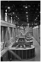 Generators in the power plant. Hoover Dam, Nevada and Arizona (black and white)