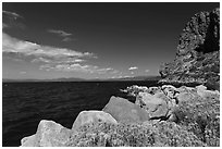 Cave Rock, East shore, Lake Tahoe, Nevada. USA (black and white)