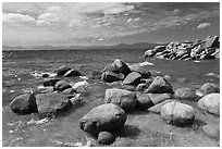 Boulders in lake, Sand Harbor, East Shore, Lake Tahoe, Nevada. USA ( black and white)