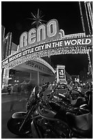Motorbikes and neon sign at night. Reno, Nevada, USA (black and white)