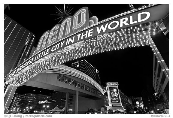 Biggest little city in the world neon sign. Reno, Nevada, USA (black and white)