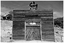 Wooden shack. Virginia City, Nevada, USA ( black and white)