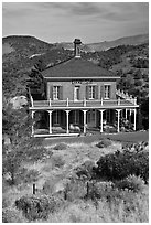 MacKay Mansion. Virginia City, Nevada, USA (black and white)