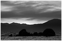 Rocks and mountains at sunset, Lake Tahoe-Nevada State Park, Nevada. USA ( black and white)