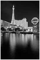 Paris Casino and Eiffel Tower reflected at night. Las Vegas, Nevada, USA (black and white)