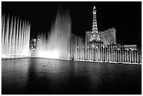 Bellagio fountains and Paris hotel by night. Las Vegas, Nevada, USA (black and white)