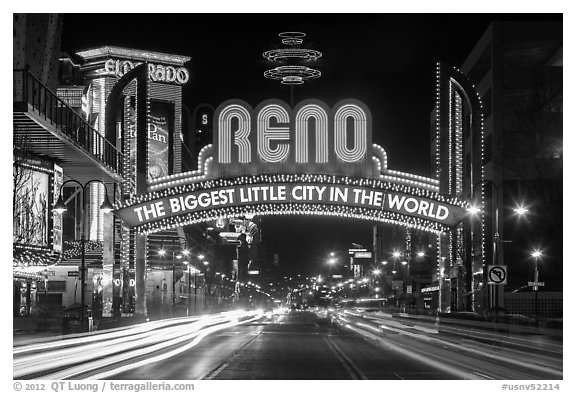 Reno Arch at night with light trails. Reno, Nevada, USA