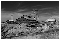 Historic mine. Nevada, USA ( black and white)