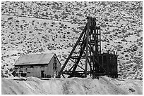 Mine and hillside. Nevada, USA ( black and white)
