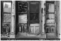 Facade of boarded-up store, Eureka. Nevada, USA ( black and white)