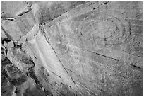 Faint petroglyphs. Gold Butte National Monument, Nevada, USA ( black and white)