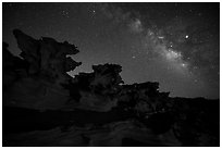 Little Finland and Milky Way at night. Gold Butte National Monument, Nevada, USA ( black and white)