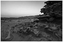 Weathered sandstone formations at dawn, Little Finland. Gold Butte National Monument, Nevada, USA ( black and white)