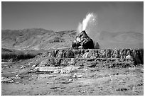 Fly Geyser, Black Rock Desert. Nevada, USA (black and white)