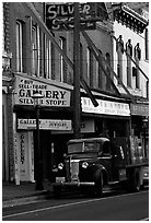 Old truck and storefronts. Virginia City, Nevada, USA ( black and white)