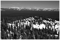 Lake in winter seen from the western mountains, Lake Tahoe, California. USA (black and white)