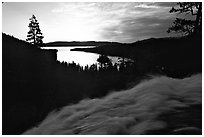 Water rushing down Eagle Falls, sunrise, Emerald Bay, California. USA ( black and white)