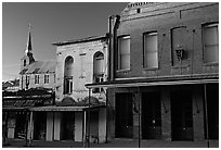 Buildings on main street and church, sunset, Austin. Nevada, USA ( black and white)