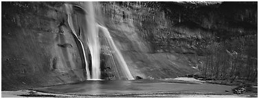 Desert waterfall. Grand Staircase Escalante National Monument, Utah, USA (Panoramic black and white)
